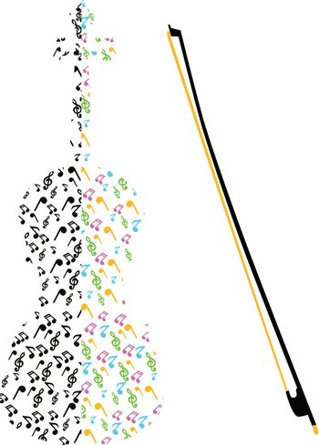 Image of the violin made from music notes