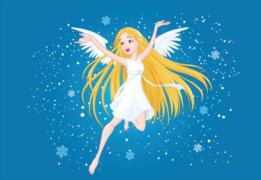 Illustration of pretty flying girl with wings