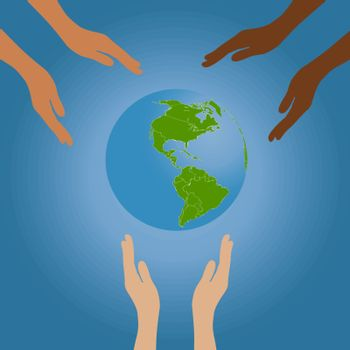 vector illustration of the planet to protect the environment , a man's hand