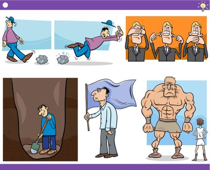Illustration Set of Humorous Cartoon Concepts or Ideas with Funny Characters
