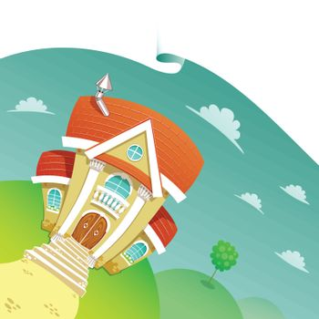 Beautiful House on a Meadow Vector Illustration