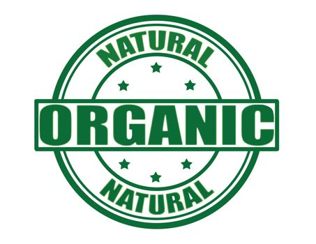 Stamp with text natural organic inside, vector illustration