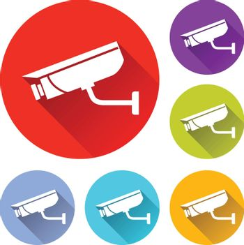 vector illustration of six colorful video surveillance icons