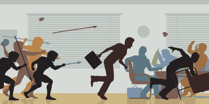 Editable vector color cutouts of cavemen attacking a business meeting