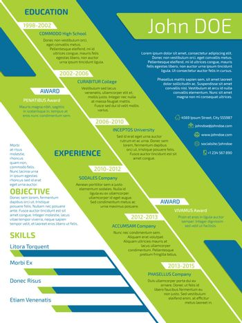 Modern resume with unusual design in green blue and white colors