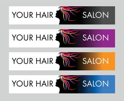 Hair Salon Logo. Creative vector concept with female head and hair.
