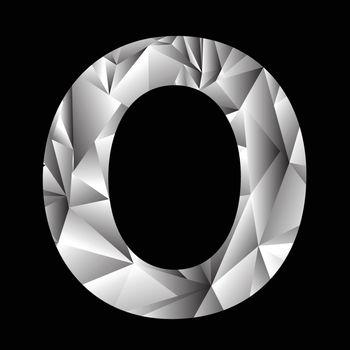 illustration with crystal letter O  on a black background