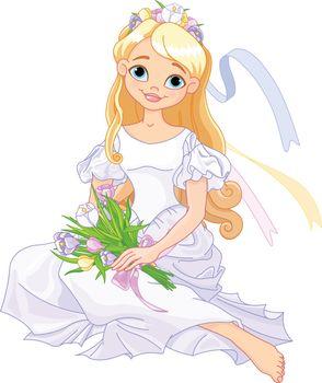 Illustration of beautiful princess holds bouquet of crocus