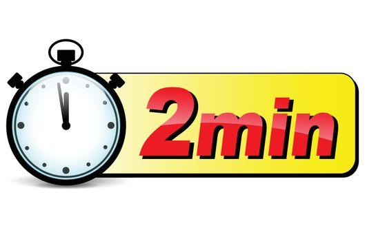 illustration of two minutes stopwatch design icon