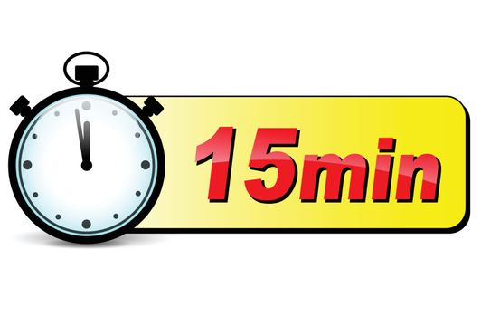 illustration of fifteen minutes stopwatch design icon