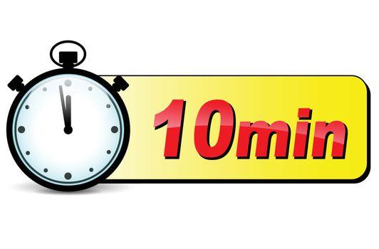 illustration of ten minutes stopwatch design icon