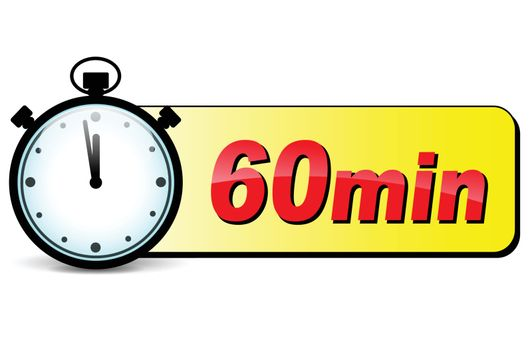 illustration of sixty minutes stopwatch design icon