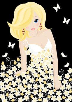 girl in a flower dress on black background