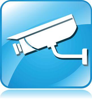 illustration of camera surveillance blue square icon on white background