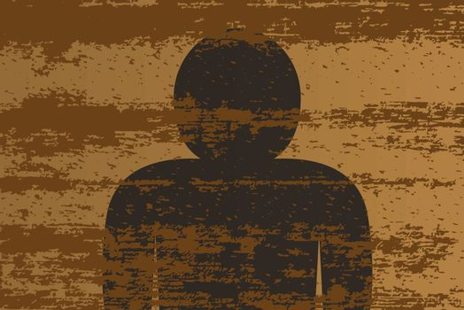 A background of a plank of wood with grain effect and a figure silhouette
