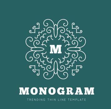 Simple and graceful monogram design template, Elegant lineart logo design, vector illustration