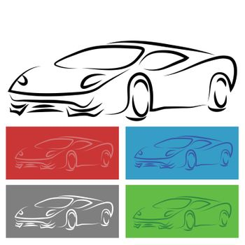 illustration  with modern car on white background