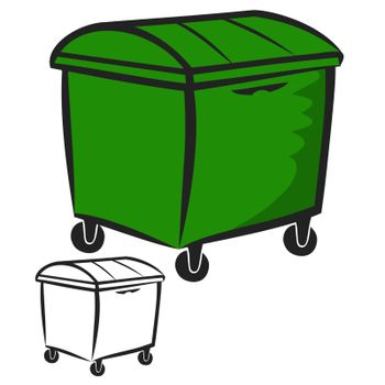 Vector illustration : Garbage Bin on a white background.