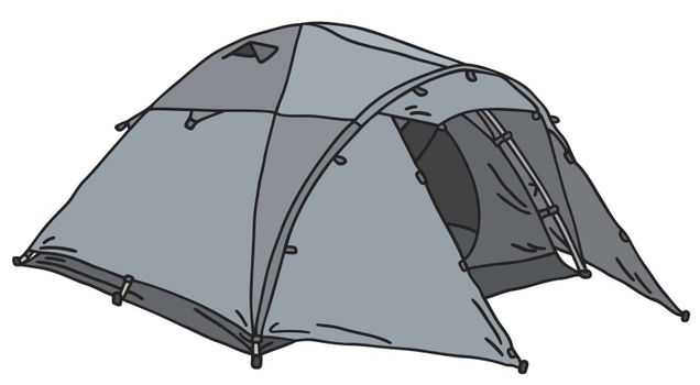 Hand drawing of a gray tent