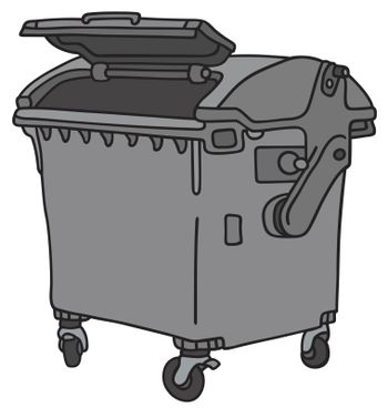 Hand drawing of a dark gray big garbage container