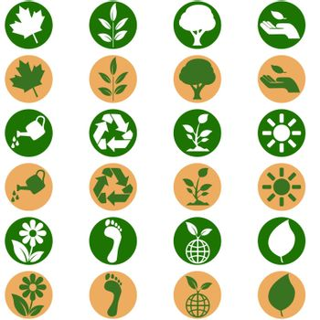 icon set showing environmental themed buttons in two different flat design color schemes