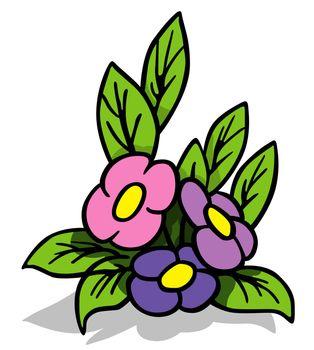 Violet Flower - Cartoon Illustration, Vector