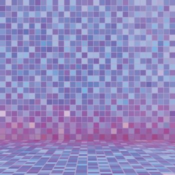 Purple ceramic tile mosaic in swimming pool