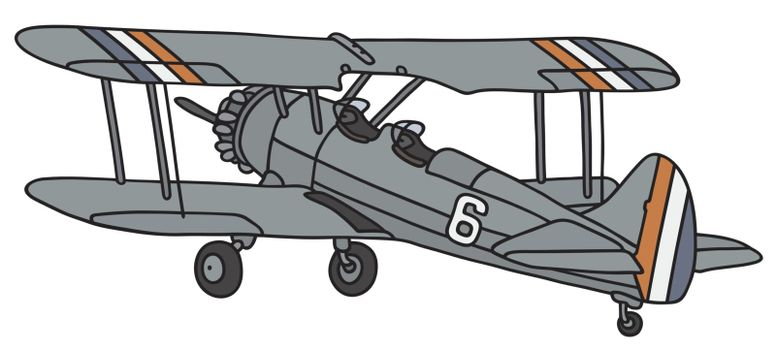 Hand drawing of a vintage biplane - not a real model