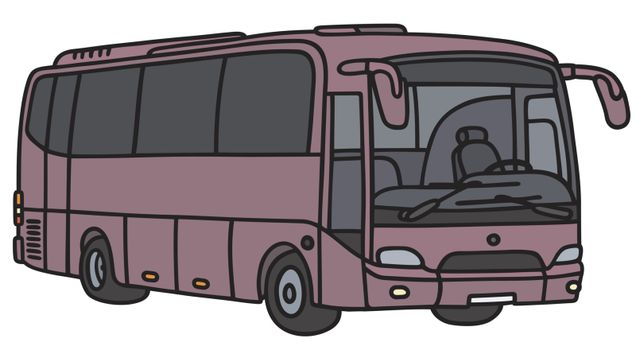 Hand drawing of a violet bus - not a real model