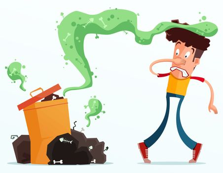 young man get annoyed because of stinky garbage