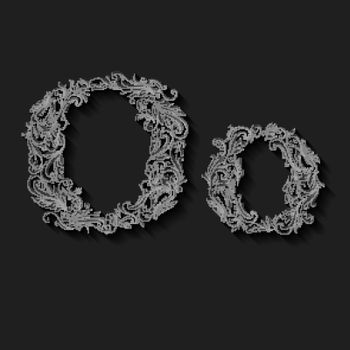 Handsomely decorated letter o in upper and lower case on black