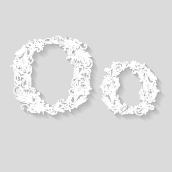 Handsomely decorated letter O in upper and lower case on gray