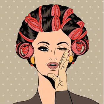 Woman with curlers in their hair, vector format