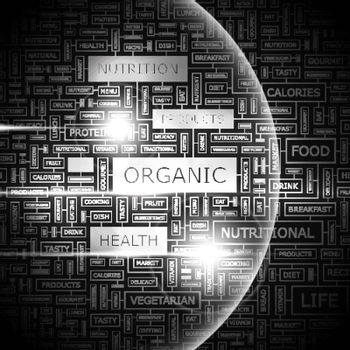 ORGANIC. Concept illustration. Graphic tag collection. Wordcloud collage.