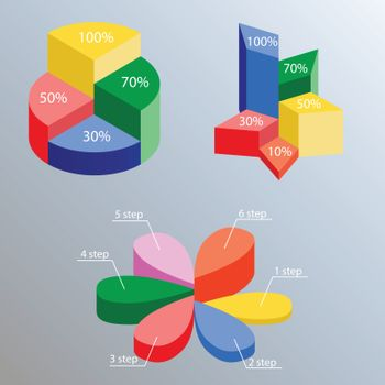 Infographics marketing set with round, star and flower diagrams