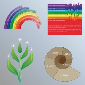 Infographics marketing set with different nature elements