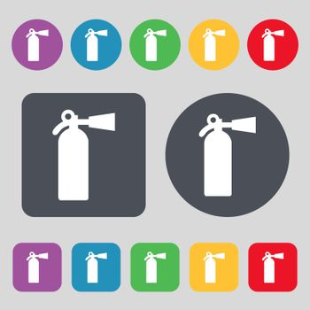 extinguisher icon sign. A set of 12 colored buttons. Flat design. Vector illustration