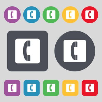 handset icon sign. A set of 12 colored buttons. Flat design. Vector illustration