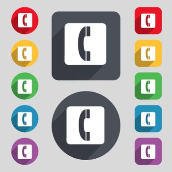 handset icon sign. A set of 12 colored buttons and a long shadow. Flat design. Vector illustration