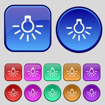 light bulb icon sign. A set of twelve vintage buttons for your design. Vector illustration