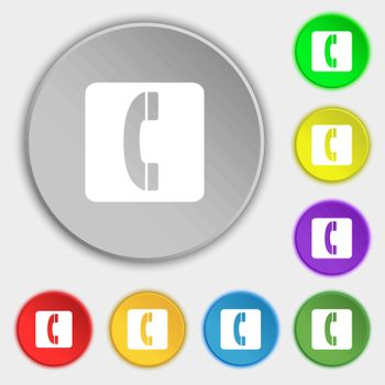 handset icon sign. Symbol on five flat buttons. Vector illustration