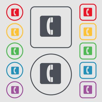 handset icon sign. symbol on the Round and square buttons with frame. Vector illustration