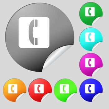 handset icon sign. Set of eight multi colored round buttons, stickers. Vector illustration