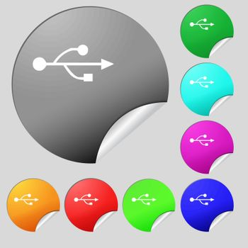 USB icon sign. Set of eight multi colored round buttons, stickers. Vector illustration