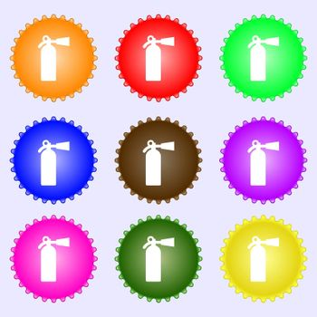 extinguisher icon sign. A set of nine different colored labels. Vector illustration