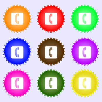 handset icon sign. A set of nine different colored labels. Vector illustration