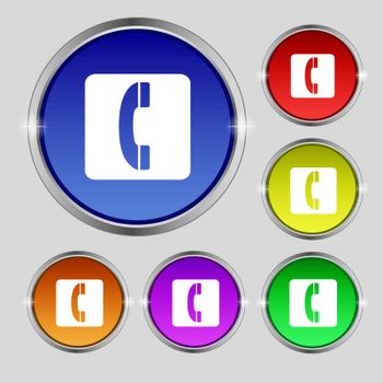 handset icon sign. Round symbol on bright colourful buttons. Vector illustration