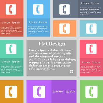 handset icon sign. Set of multicolored buttons with space for text. Vector illustration