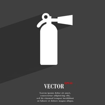 extinguisher icon symbol Flat modern web design with long shadow and space for your text. Vector illustration
