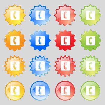 handset icon sign. Big set of 16 colorful modern buttons for your design. Vector illustration